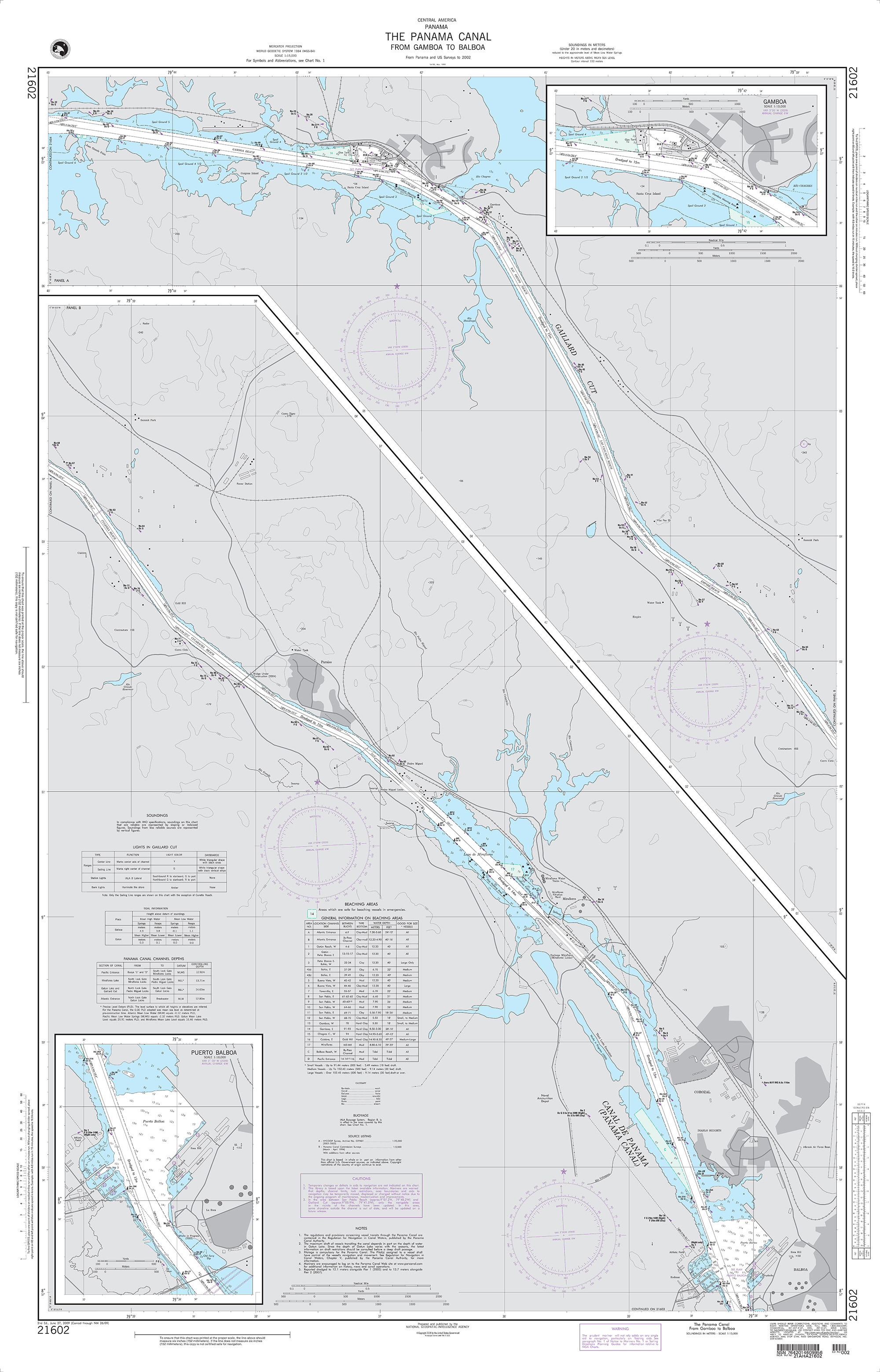 NGA Nautical Chart - 21602 The Panama Canal from Gamboa to Balboa (Panama) Panels: A and B