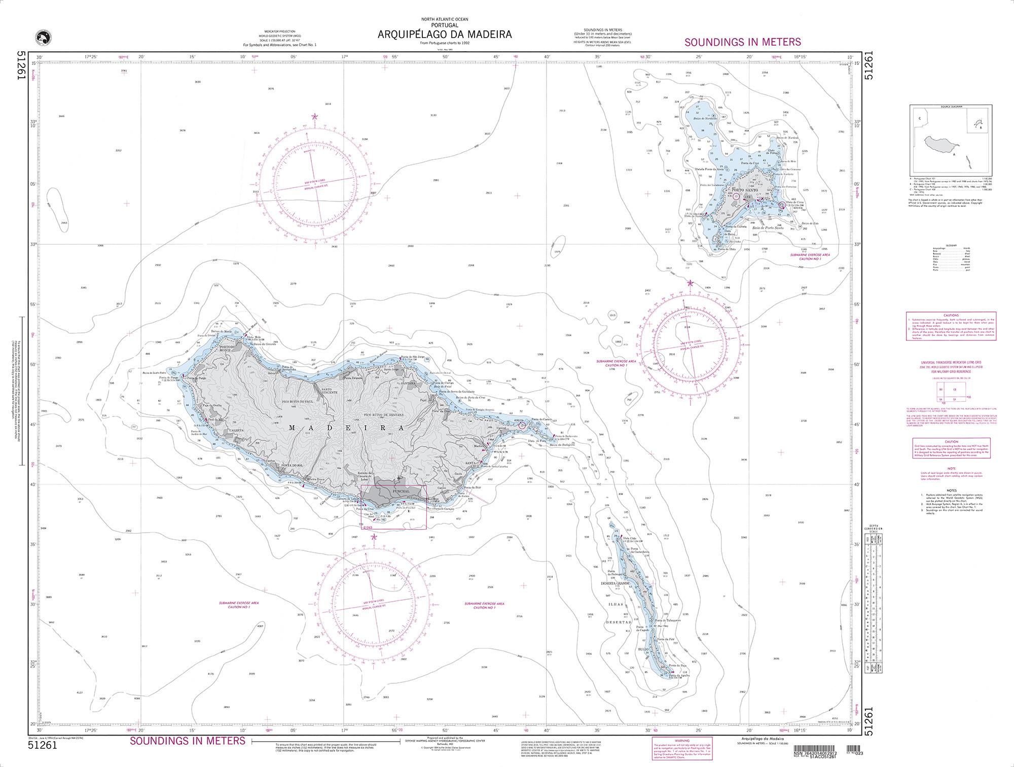 NGA Nautical Chart - 51261 Arquipelago da Madeira
