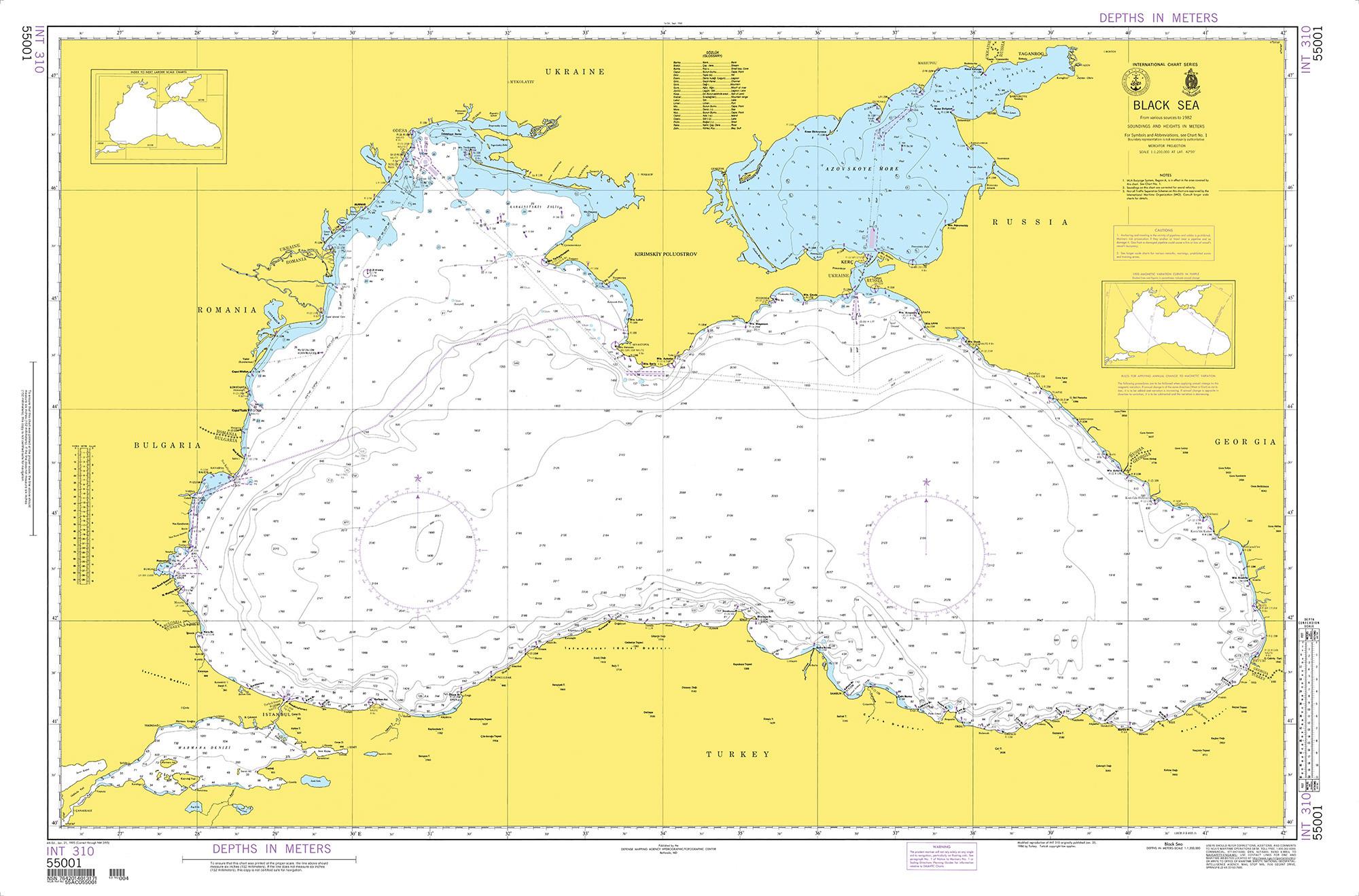 NGA Nautical Chart - 55001 INT. 310, Black Sea