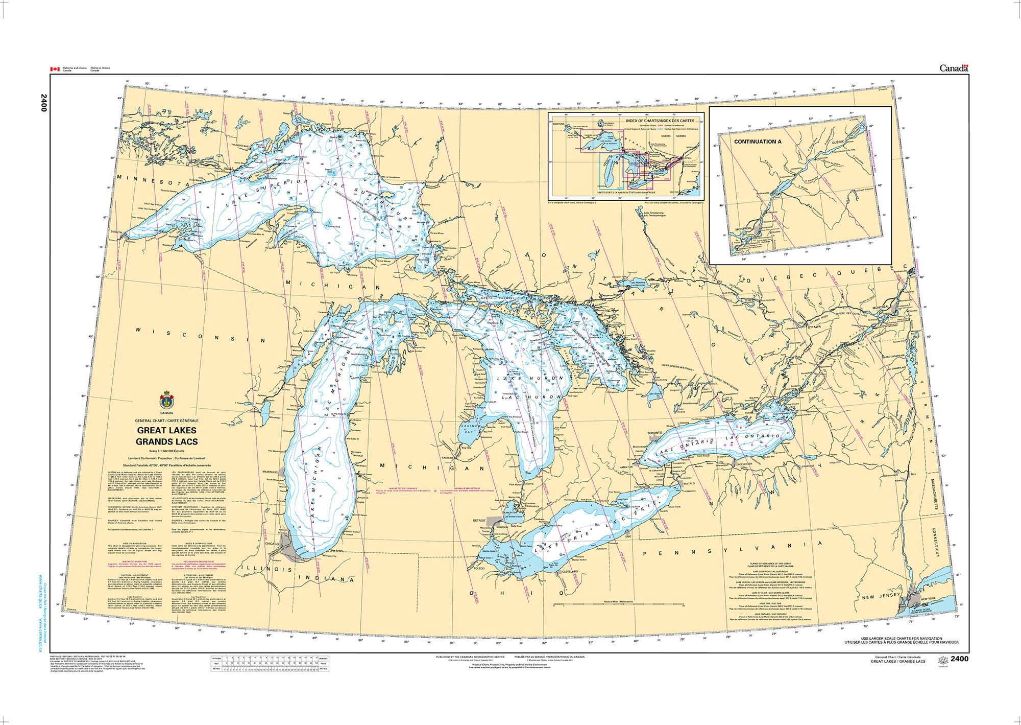 CHS Nautical Chart - CHS2400 Great Lakes/Grands Lacs