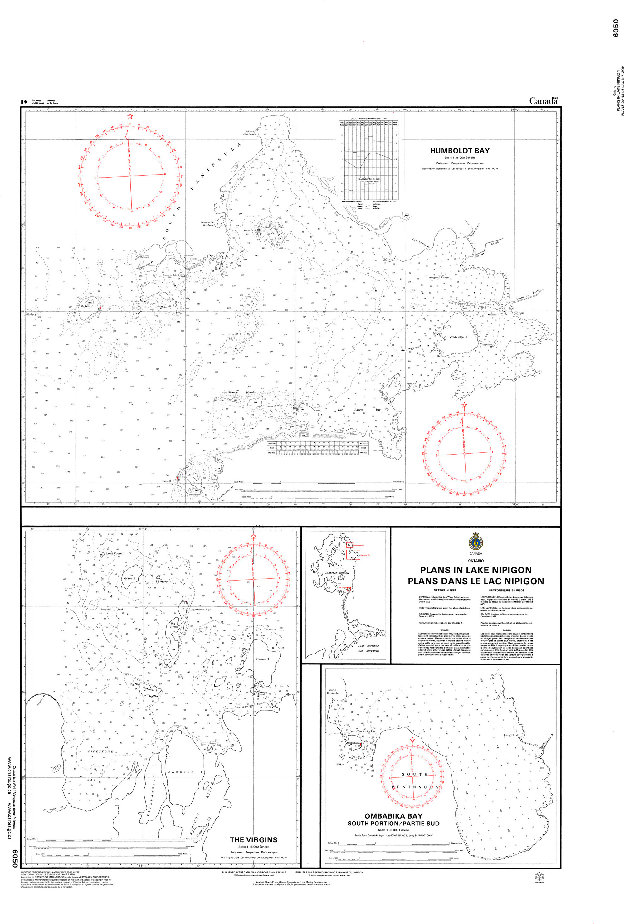 CHS Nautical Chart - CHS6050 Plans in Lake Nipigon / Plans dans le lac Nipigon