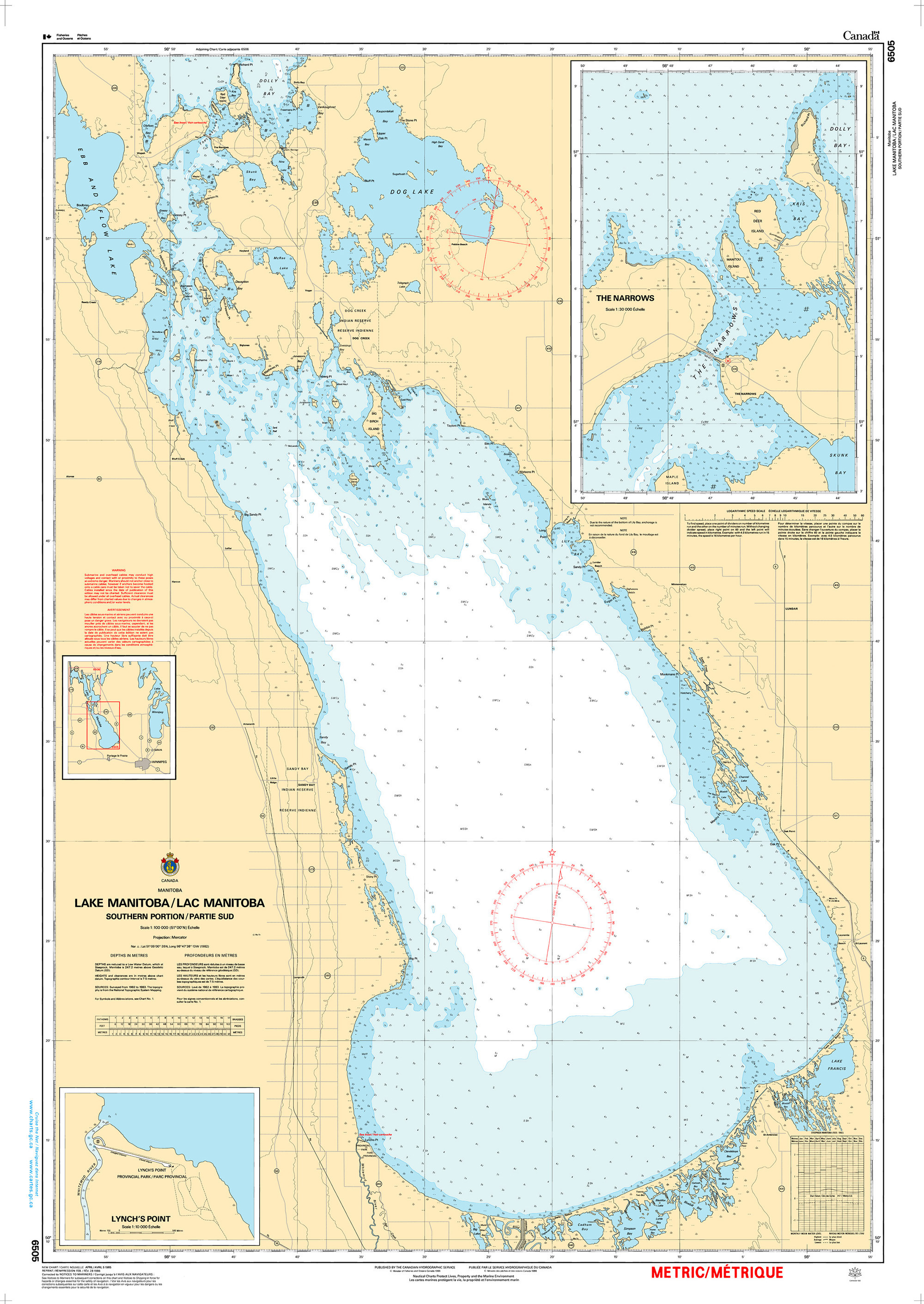 CHS Nautical Chart - CHS6505 Lake Manitoba / Lac Manitoba (Southern Portion / Partie sud)