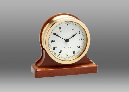 Chelsea Voyager Clock on Cherry Base 3.5 Inch -White Dial