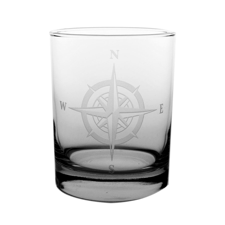 Rolf Glass Compass Rose Double Old Fashioned Rocks Glasses