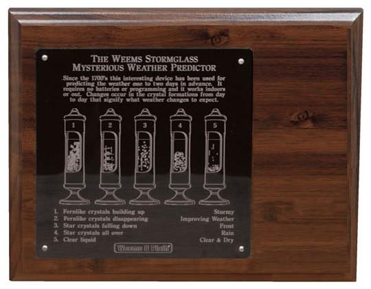 Weems & Plath Chrome Stormglass Display 8x10 Wood Display with engrave