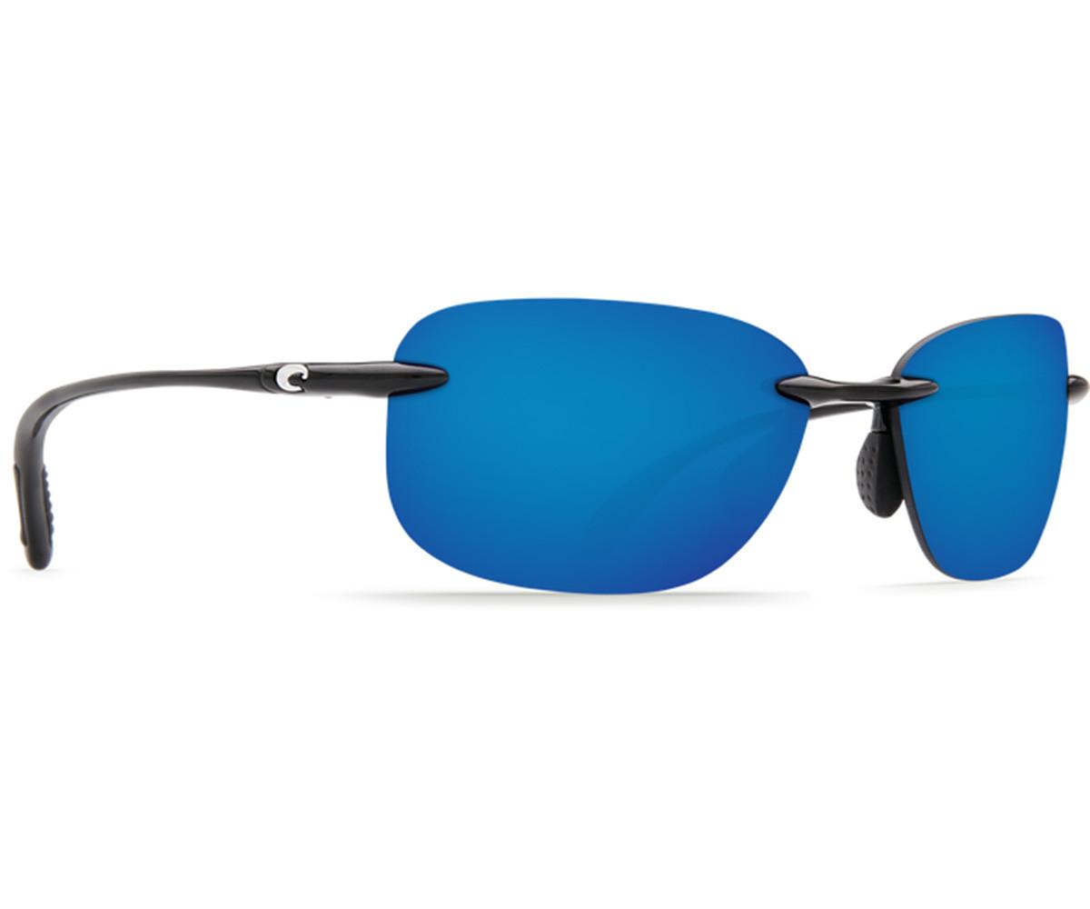 Costa Del Mar Seagrove Sunglasses - Shiny Black Frame w/ Blue Mirror Lens