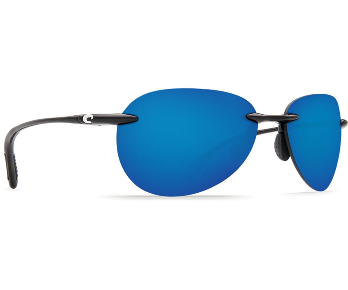 Costa Del Mar West Bay Sunglasses - Shiny Black Frame w/ Blue Mirror Lens