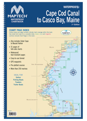Maptech Waterproof Chartbook Cape Cod Canal to Casco Bay, Maine