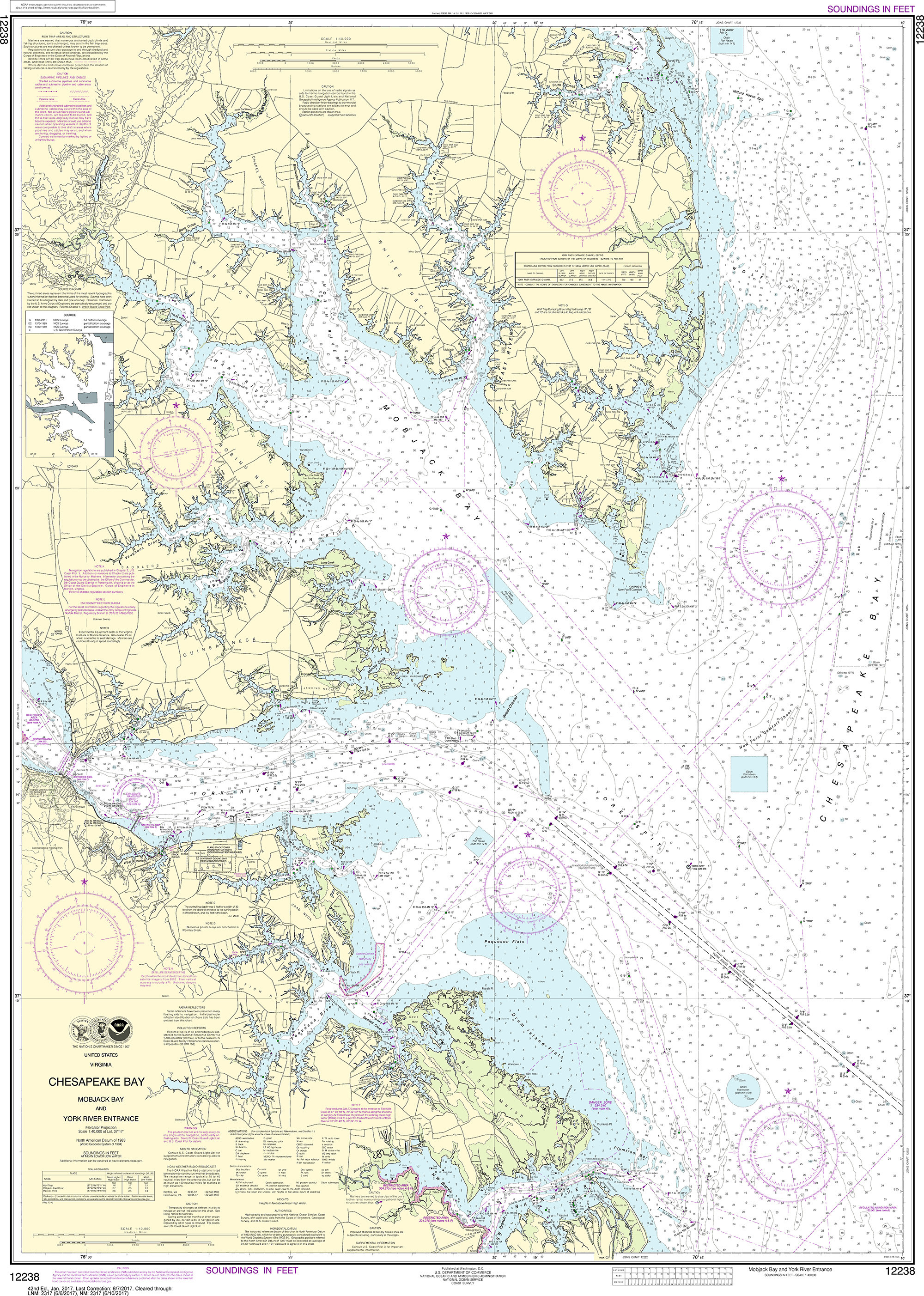 Noaa Nautical Chart 12238 Chesapeake Bay Mobjack And York River Entrance