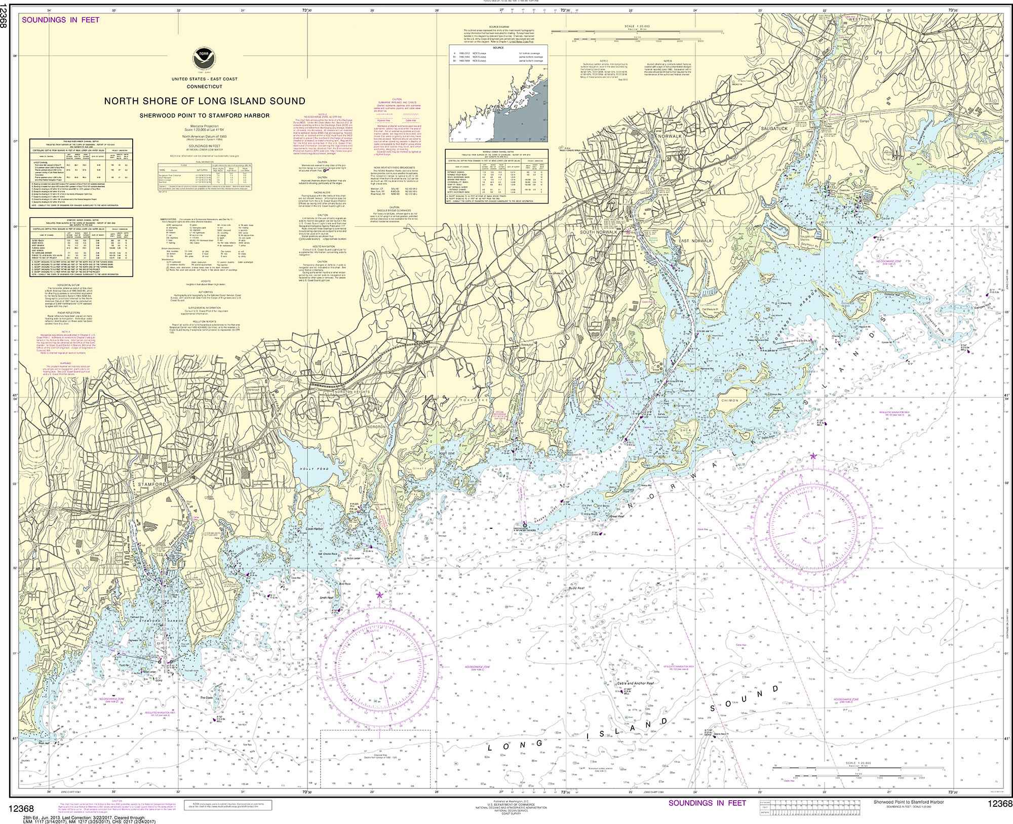 Noaa Nautical Chart 12368 North S Of Long Island Sound Sherwood Point To Stamford Harbor