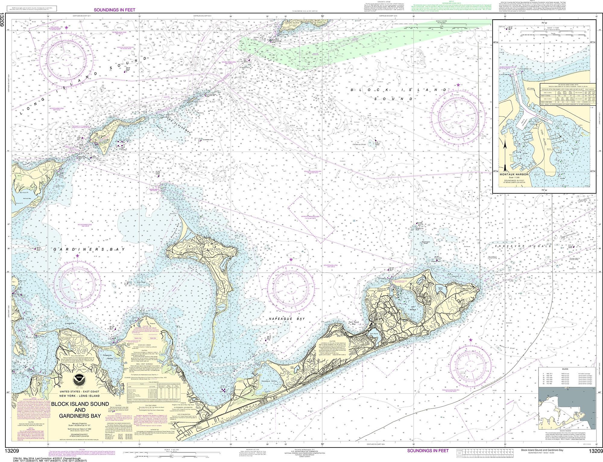 Noaa Nautical Chart 13209 Block Island Sound And Gardiners Bay