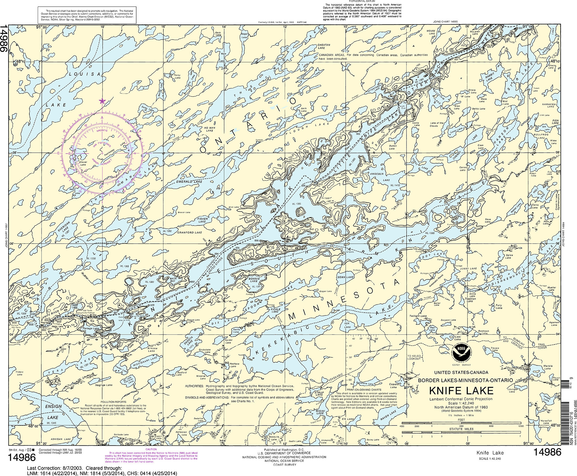 NOAA Nautical Chart - 14986 Knife Lake