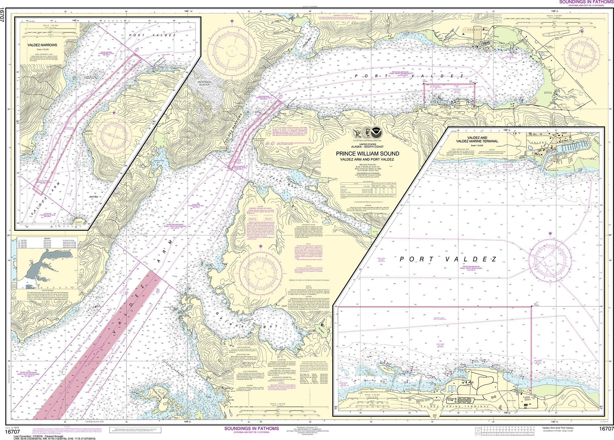 Noaa Nautical Chart 16707 Prince William Sound Valdez Arm And Port Narrows Marine Terminal