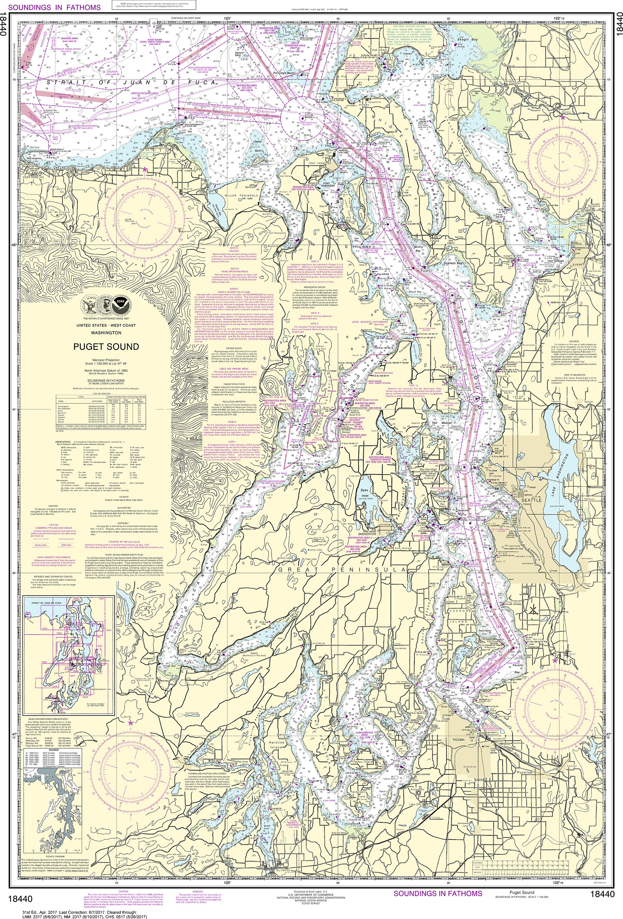 NOAA Nautical Chart - 18440 Puget Sound