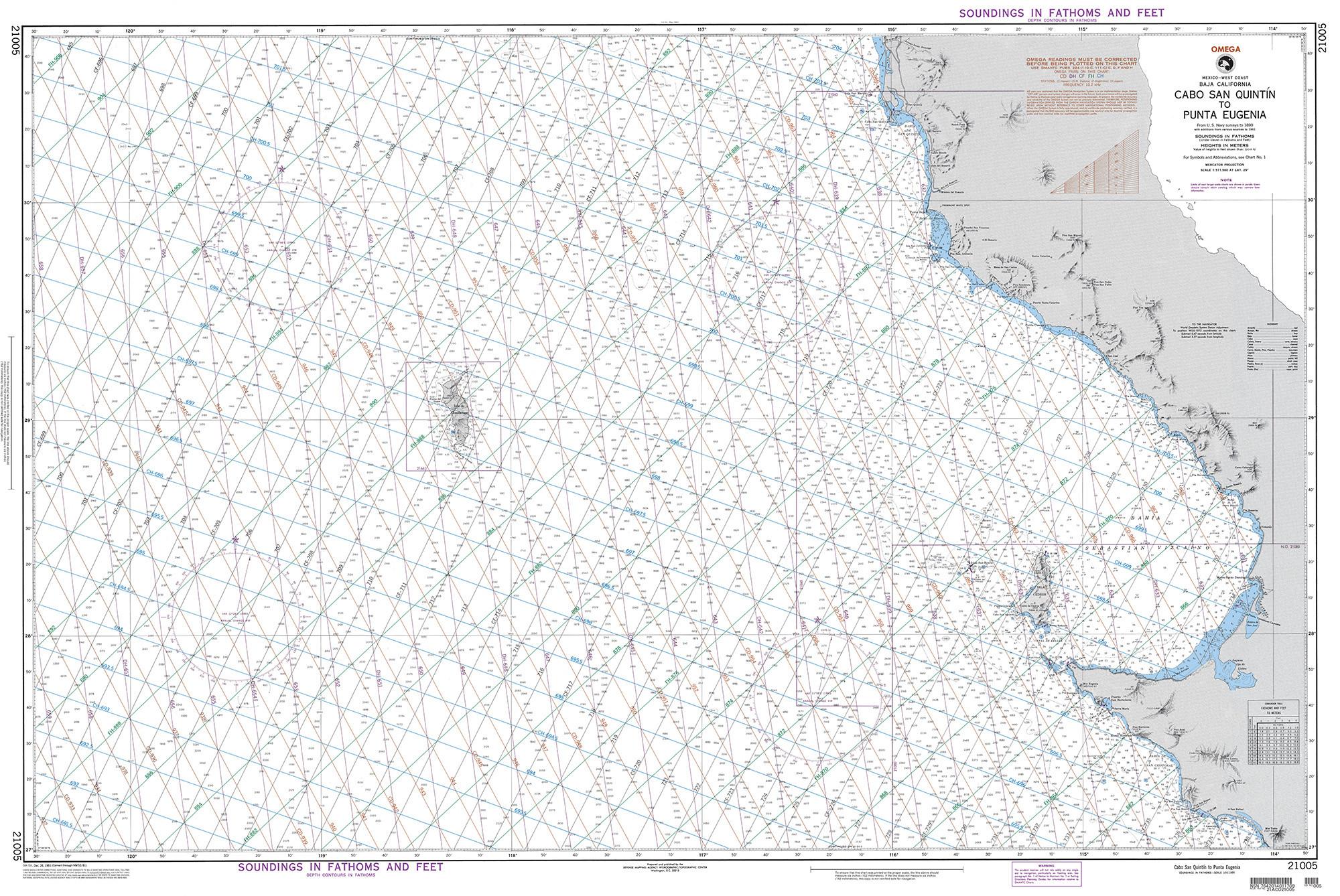 Nga Nautical Chart 21005 Cabo San Quintin To Punta Eugenia Mexico