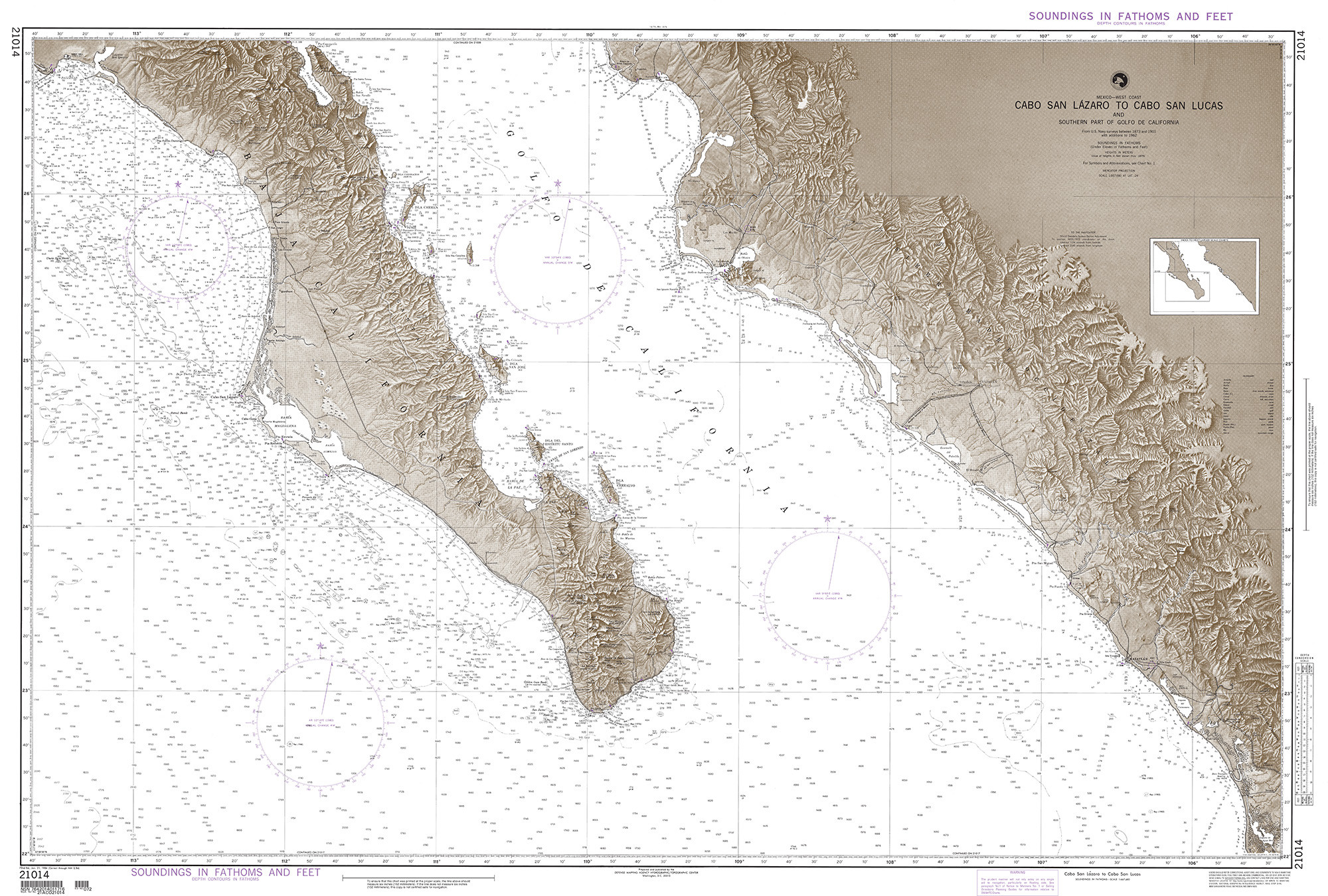 Gulf Of California Map.Nga Nautical Chart 21014 Cabo San Lazaro To Cabo San Lucas And Southern Part Of Gulf Of California Mexico West Coast Omega