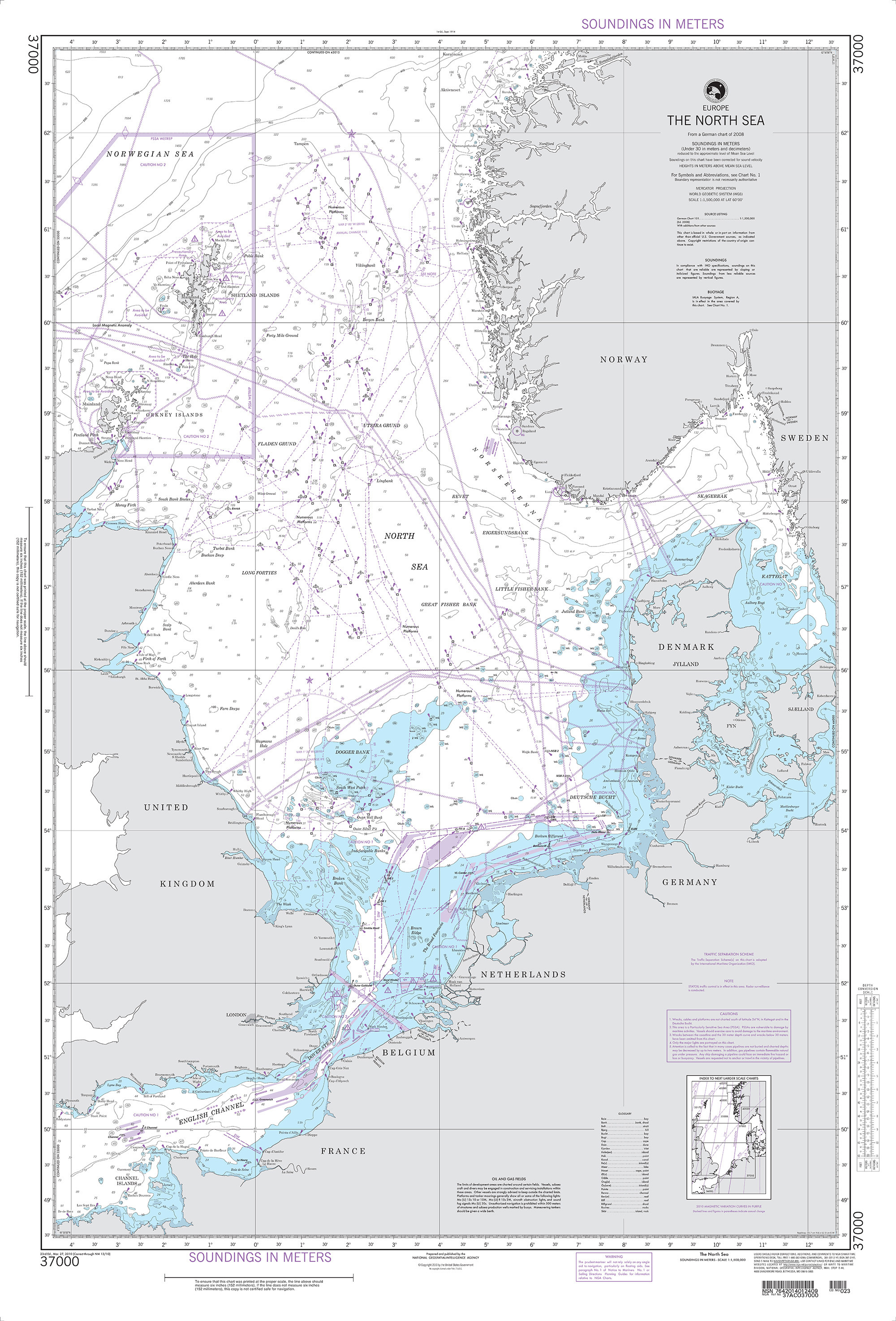 NGA Nautical Chart - 37000 INT  140, The North Sea