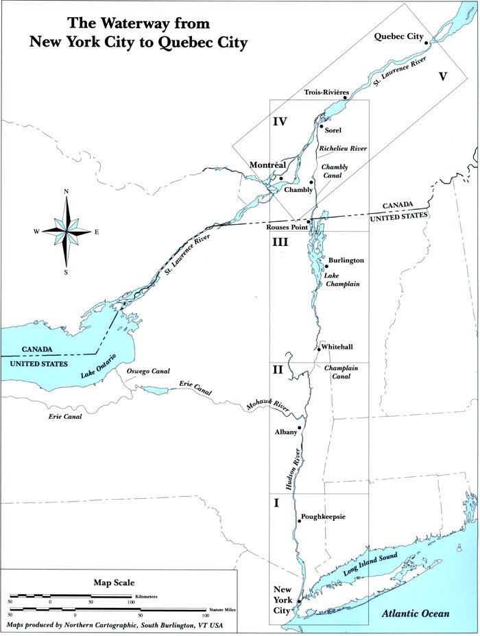 Map Of New York Waterways.Cruising Guide To The Hudson River Lake Champlain The St Lawrence River 8th Ed
