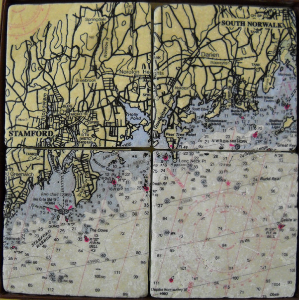 ScreenCraft Chart Coaster Set / Stamford to South Norwalk CT