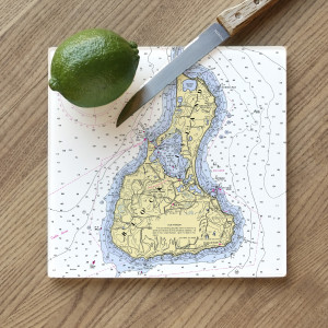 ScreenCraft - Glass Cutting Board - Block Island - 8 Inch
