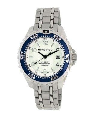 White Face/Navy Bezel/Steel Band