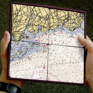 ScreenCraft Chart Coaster Set / Norwalk to Fairfield CT
