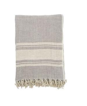Darzzi Inlay Border Throw - Grey Linen