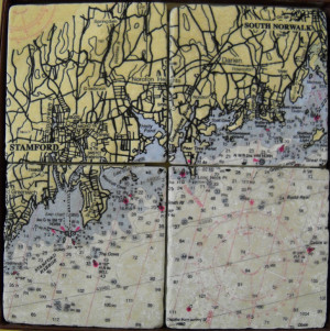 ScreenCraft Chart Coaster Set / Stamford to South Norwalk CT