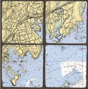 ScreenCraft Chart Coaster Set / Greenwich CT