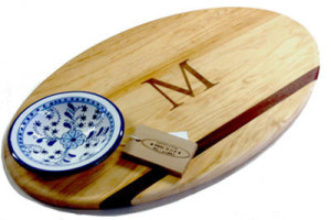 Soundview Millworks Nautically Themed Oval Serving Board with Ceramic Dip Bowl