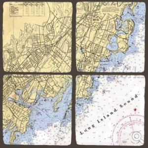 ScreenCraft Chart Coaster Set / Rye to Mamaroneck NY