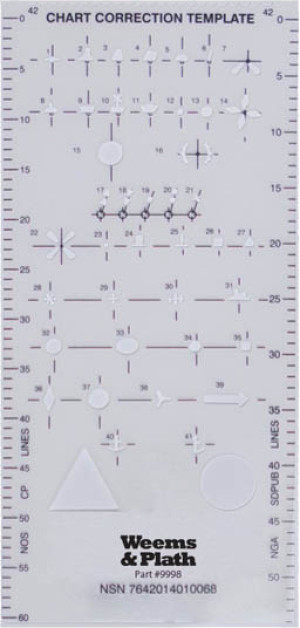 Weems & Plath Chart Correction Template - plastic