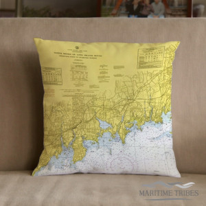 Maritime Tribes Pillow - Chart Print of Stamford, CT.